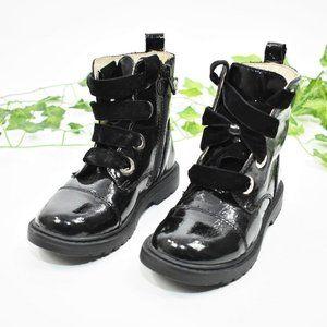 Naturino black snow rain lace up leather boots 27
